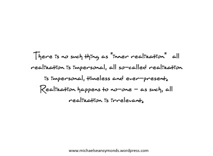 Realization Is Irrelevant. michael sean symonds