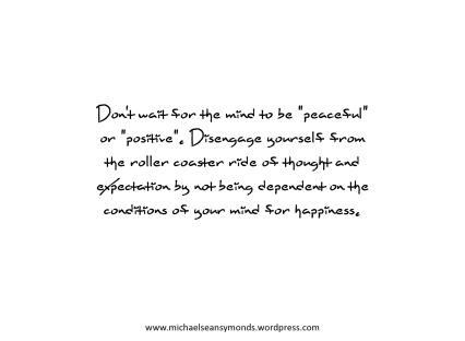 Don't Wait For A Peaceful Mind. michael sean symonds