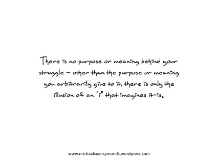 No Purpose Or Meaning Behind Struggle. michael sean symonds
