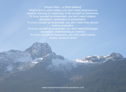 What's Here Is What Matters. michael sean symonds