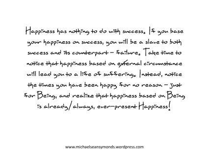 Happiness Has Nothing To Do With Success. michael sean symonds.jpg